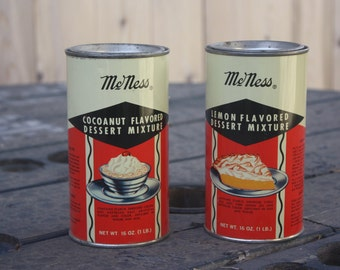Vintage McNess Cocoanut and Lemon Flavored Dessert Mixture Tins