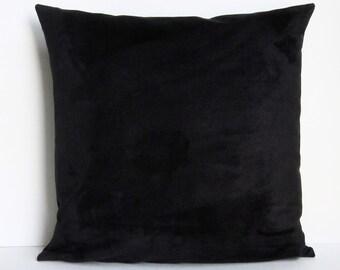 Black Suede Pillow Cover Decorative Accent Toss Throw Pillow 16x16 18x18 20x20 22x22 12x14 12x16 12x18 12x20 14x22 Zipper