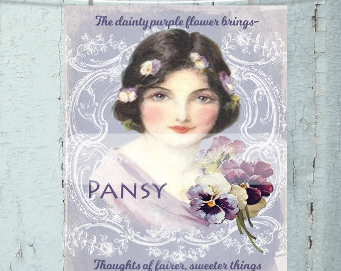 Shabby Digital Victorian Lady, Pansy, Flowers, Purple, Vintage Lady, Digital Pillow Image, Instant Download