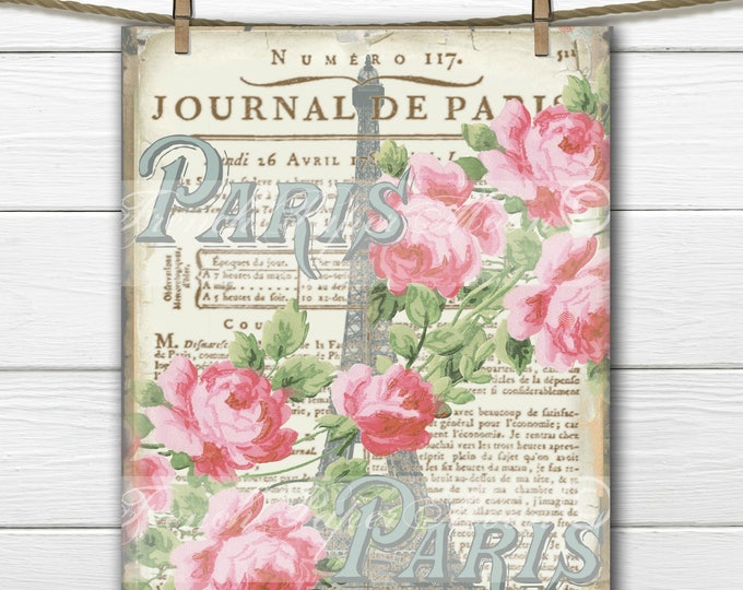 Vintage Paris Digital Image, Paris 1900's, Shabby Eiffel Tower, Roses, French Graphics, Pillow Transfer Graphic Download