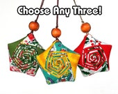 Lucky Star Ornament Bundle (Small) - Any Three Upcycled/ Vintage Fabric Origami Star Ornament Special Offer