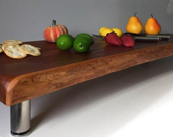 Butcher Block with Legs, Charcuterie Boards,Long Cutting Board,Butcher Block, Cheese Board,Live Edge Tray,Engraved Wood Cutting Board,Cherry