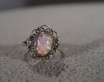 Vintage Sterling Silver Band Ring Oval Opal Fancy Filigree Etched Scrolled Victorian Style, Size 6