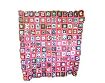Vintage Crocheted Granny Square Afghan, Dark Pink Background with Multi Colored Accents, Cottage Style, Crocheted Throw, Blanket