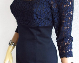 Empire Waist Dress Square Neckline 3/4 Sleeve and Navy Blue Lace Bustier
