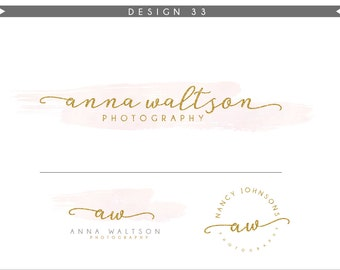 Watercolor Logo Design Branding Package Inc. Photography Logo Watermark - GOLD GLITTER initials letters script cute Watercolor Logo- Logo 33