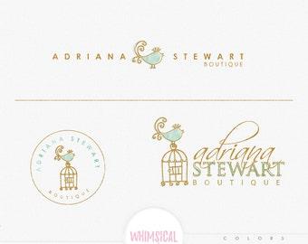 Simple Bird - Watercolor Logo Design Branding Package Inc. feminine children boutique - Photographer package logo Script Watercolor Logo