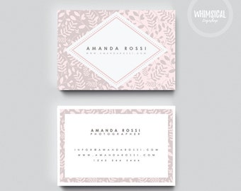 Floral 1 Template Card Design, Creative Business Card Template, elegant and rose gold Card, Contact Card, Whismical lines, flower pattern