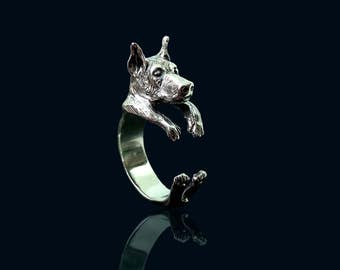 Sterling Silver Doberman Ring, Doberman Pinscher, Silver Doberman Jewelry, Sterling Silver Ring Doberman, Ring Silver Doberman, Silver Rings