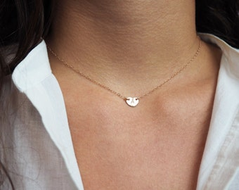 Tiny Initial Heart Necklace, Rose Gold Initial Necklace