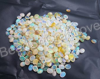 ethiopian opal smooth or plain oval shape Cabochon 3x5/5x8 mm, 50 pieces     AAA