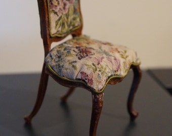 Dollhouse Miniature Side Chair with Petit Point; Butterfly Garden; Free Shipping