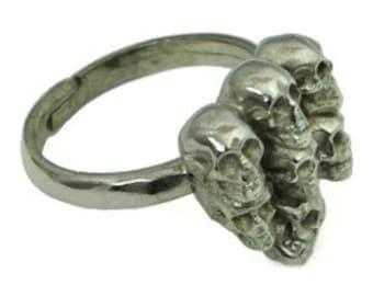 Skull Silver Ring Mens Silver Signet Ring Mens Cool Ring Mens Ring Silver Ring Mens Gift Fashion Ring Designer Formal Ring Party Mens  53S