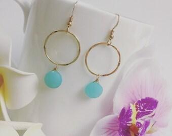 Gemstone Hoop Earrings, Chalcedony Earrings, Gold Aqua Hoop Earrings