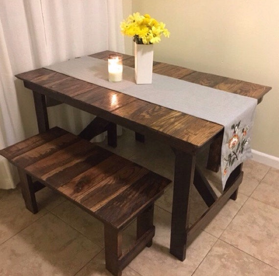 Kitchen Table Picnic Style: 5' Dining Table & 2-Bench Set Reclaimed Wood By SereneVillage