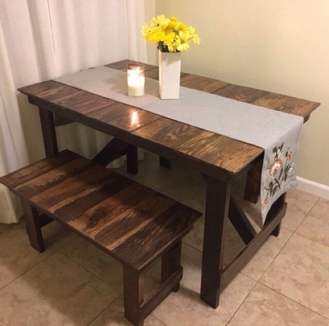 rustic kitchen table bench set reclaimed wood farmhouse patio picnic restaurant style small garden