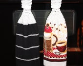Set of 2 Crochet Top Dish Towels, Coffee & Black Striped Dish Towel Set, Tea Towel Set, Hanging Dish Towel, Kitchen Towel Set, Button Towels