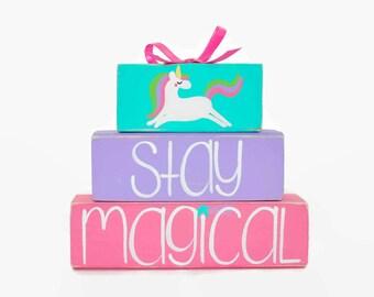 Unicorn Stay Magical WoodenBlock Shelf Sitter Stack, Birthday Decor, Toddler, Nursery