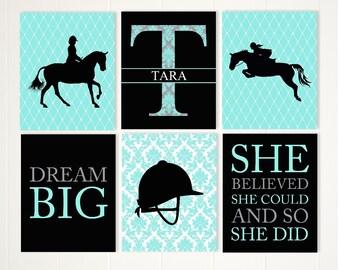 Horseback ridding wall art, horseback girl, teen girl art, inspirational sports art, gift for teen girl, set of 6