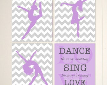 Girls dance decor, dance wall art, modern dance art, girls wall art, girls gift idea, set of 4, choose your colors