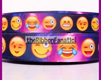 """5 yds  5/8"""" and 7/8"""" Emoji Emoticon Silly Faces Grosgrain Ribbon"""