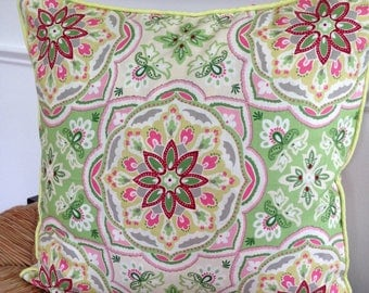 Green Pink Pillow Cover 18 x 18 inch Pillow Cover Pink Floral Pillow Cover Green Floral Pillow Cover Pink Green Medallion Pillow Cover