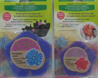 """Two Flower Yo-Yo Maker Templates, Clover """"Quick"""" Fabric Flower Shaped, Small & Large Reusable Templates, Fabric shaped Flower"""