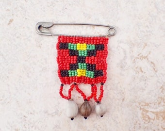 Vintage Beaded Safety Pin Brooch Zulu Love Letter Red Black Green Yellow Seed Beads Mother Day Mixed Media Upcycle Supply Theatre Costume