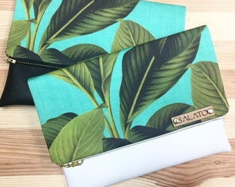 Leather Clutch, Palm Leaf Print, Canvas and Leather Clutch, faux leather bag, Leather Bag, Leather Purse, Handbag,