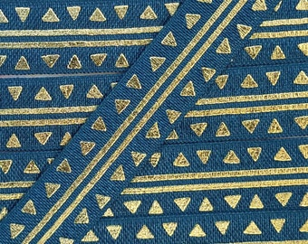 5/8 MILITARY BLUE with Gold Tribal Stripes + Triangles Fold Over Elastic