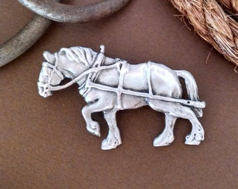 Draft Horse Pin, Draft Horse Brooch