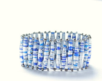 African silver and blue beaded bracelet