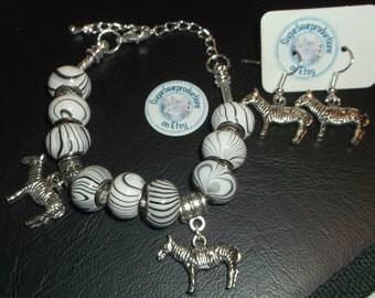 2 piece set - Zebra Bracelet, black and white wood color beads, Zebra dangle earrings, sugarbearproductions, gift wrapped