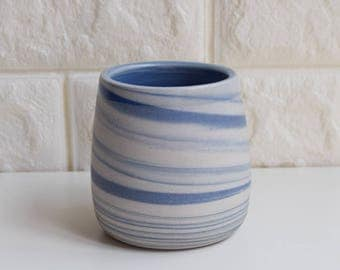 Blue Mug, Ceramic Mug, Ceramic Tumbler, Ceramic Cup, Porcelain Mug, Marbled Mug, Coffee Mug, Tea Cup, Home Decor, DIY, Marbled, Agate, (M3)