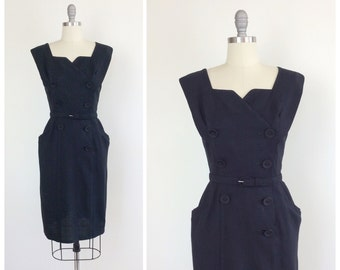 50s Black Linen Double Breasted Wiggle Dress / 1950s Vintage Hourglass Dress / Large / Size 10