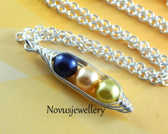 Three Peas in A Pod Necklace, Select your color