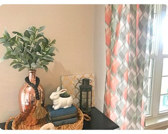 1 Pair of Brand New Peach, Gray and Green Modern Print Curtains you choose your length, Window Treatments, Drapes,