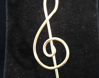 Pendant - Gold Wire Treble Clef Pendant - FREE SHIPPING