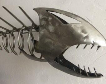 Steel Skeletal Fish Sculpture