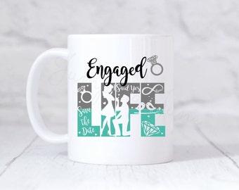 Engaged life coffee mug, future mrs. coffee mug, newly engaged gift, engagement gift, bride to be gift