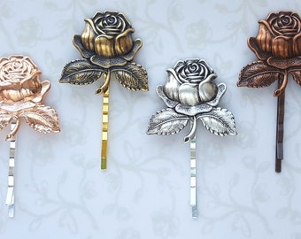 Rose Bobby Pins, Choose Your Finish, Beauty and the Beast, Vintage Inspired Hair Pins, Enchanted Rose, Tale as Old as TimeHair Pins, Wedding