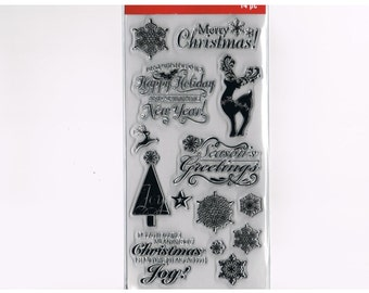 MERRY CHRISTMAS Sparkling New Year Snowflake Reindeer Christmas Clear Acrylic Stamp set By Recollections cc22
