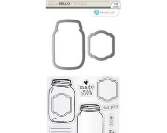 Hampton Art Stamp & Die Set MADE WITH LOVE Mason Jar Clear stamps SC0769 - cc52 SD022