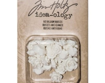 Tim Holtz Idea-ology HEIRLOOM ROSES resin embellishments that can be PAINTed or inked cc3x