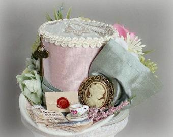 Flower Mini Top Hat, Garden Mini Top Hat, Victorian Hat, Tea Party Flower Hat, Kentucky Derby Hat, Women Mini Top Hat, Women Fascinator