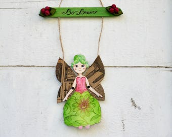 "Fairy paper doll ""Be brave"", pre school encouraging gift, door decoration collage, hand painted  guardian spirit bless your heart angel."