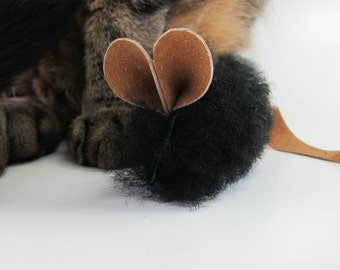 Little Mouse Cat Toy | Cute Handmade Cat Toy | All Natural Cat Toy | Catnip or Silvervine  Stuffed Cat Toy Mouse | Real Black Sheepskin
