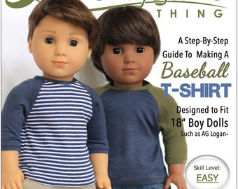 Pixie Faire Liberty Jane Boy Doll Baseball T-Shirt Doll Clothes Pattern for 18 inch American Girl Dolls