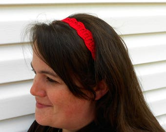 Crochet Headband - Crochet Hairband - Elastic Headband - Red Headband - Red Hairband - Cotton Headband - Stocking Stuffer - Yoga Headband