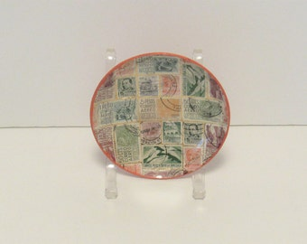 Glass Stamp Bowl, Mexico, 1970's